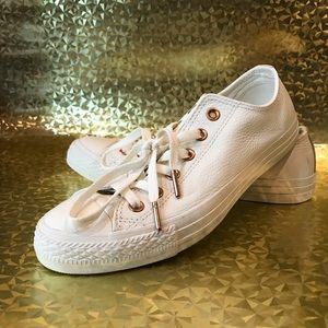 Converse white leather+rose gold low top
